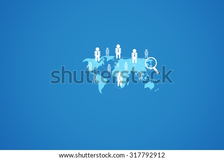 World icon into a magnifying glass on a blue background. Stock vector - stock photo