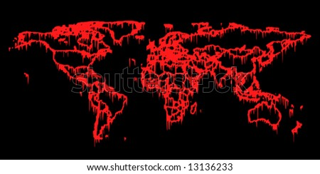 World in blood (conceptual map, borders contour isolated on black) - stock photo