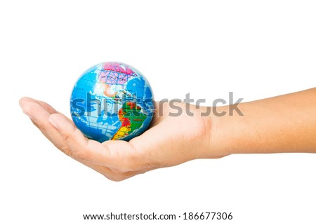 World in hand, clipping path
