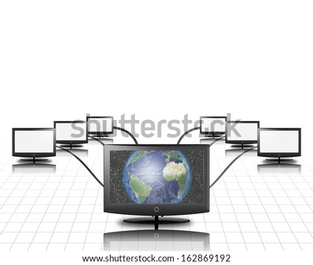 World in screen connected to more - stock photo