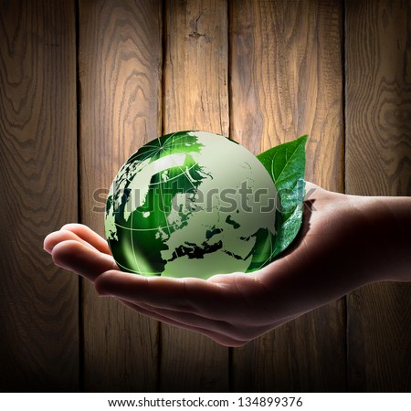 world in the hands - wood background - europe - stock photo