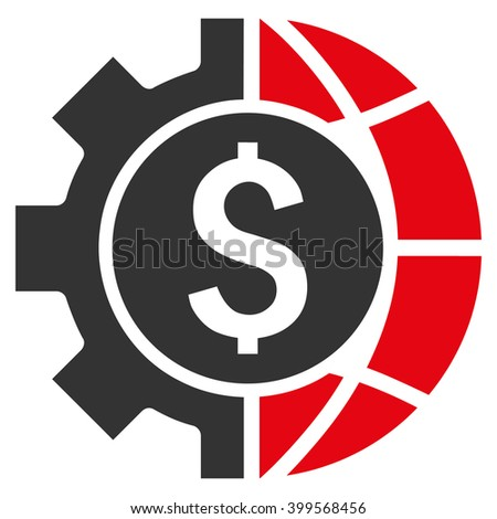World Industry Finances glyph icon. Style is flat symbol, red color, white background. - stock photo