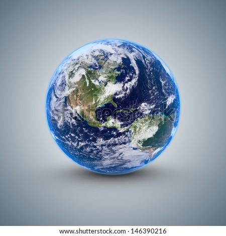 World isolated on blue gray background - stock photo