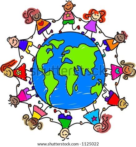 world kids - stock photo