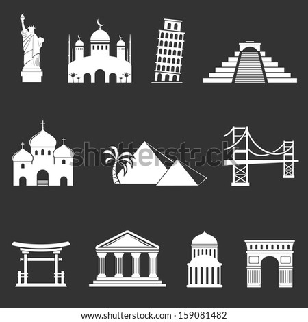 World Landmark Icon Set - stock photo