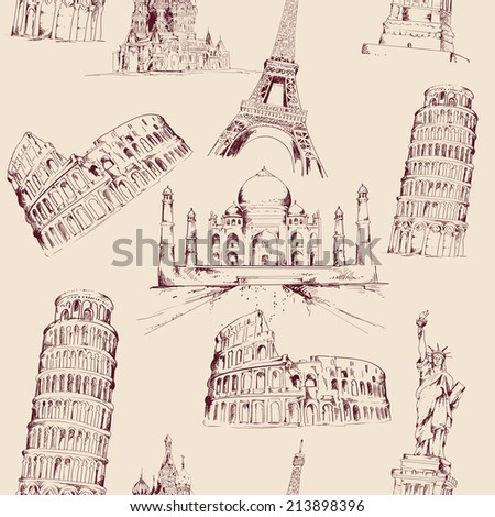 World landmark sketch seamless pattern with famous architecture culture buildings  illustration