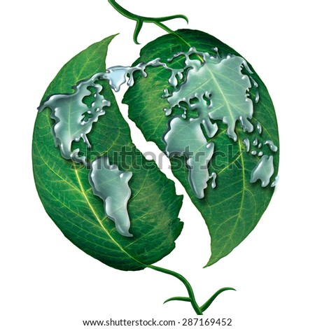 World leaf water drop concept as a group of liquid rain drops shaped as  the map of the earth on green leaves as a symbol and metaphor for ecology protection or clean global water white. - stock photo