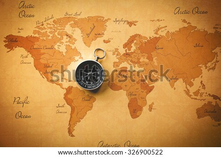 World man with compass close up - stock photo
