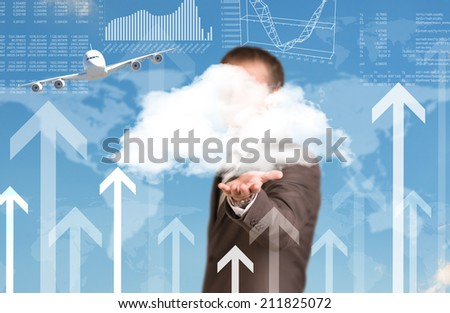 World map and airplane. Businessman as backdrop - stock photo