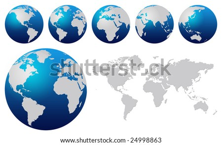 World map and blue globes