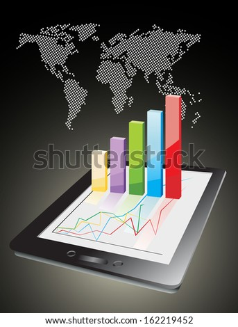 world map and computer tablet showing a spreadsheet with some 3d charts over it - stock photo