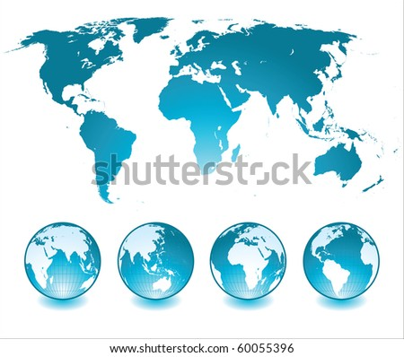 world map and glossy globes - stock photo