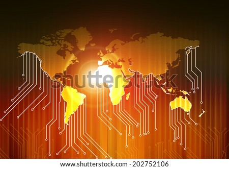 World map and  high tech circuit board , abstract technology background