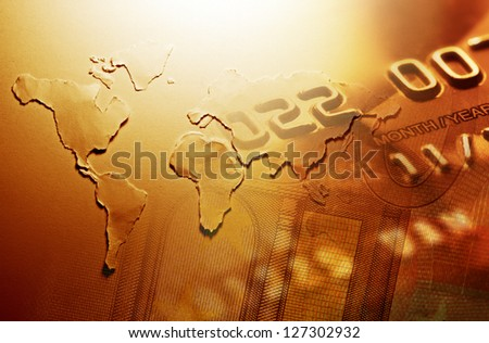 World map and money. World finance concept. - stock photo