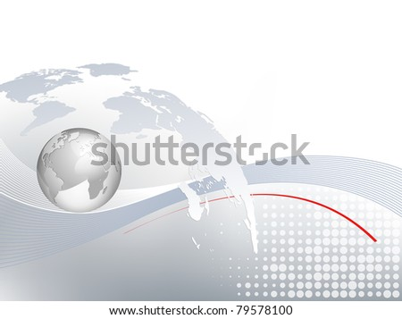 World map and silver 3d globe - business background - light grey blue backdrop with lines and dots and gradient to white - stock photo