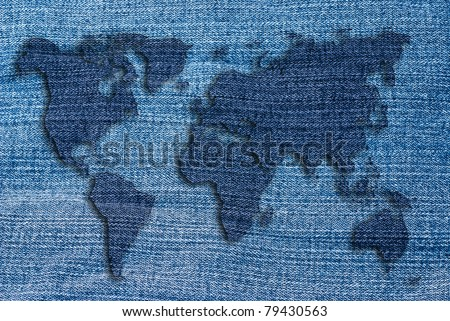 World map artwork made jean texture stock illustration 79430563 world map artwork made jean texture gumiabroncs Images
