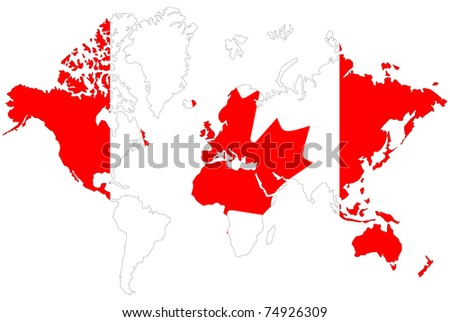 Canada Map On World Map Flag Stock Vector Shutterstock - Canada map in world map