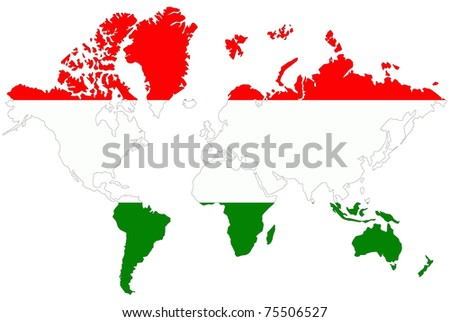 World map background hungary flag stock illustration 75506527 world map background with hungary flag gumiabroncs Gallery