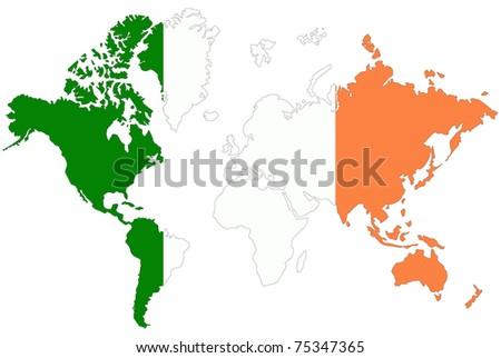 World map background ireland flag stock illustration 75347365 world map background with ireland flag gumiabroncs Images