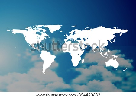 World map beautiful and trendy background with sky clouds  - stock photo