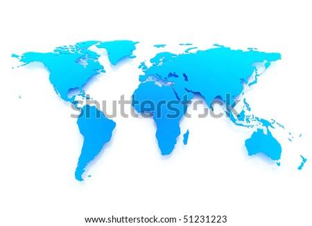 World map blue 3D - stock photo
