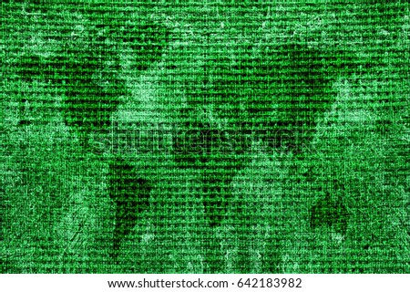 World map Burlap background texture