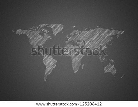 World map chalk on blackboard - stock photo