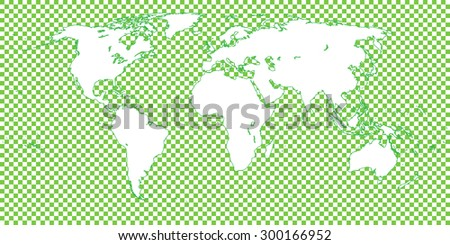 World Map Checkered Green 1 Big Squares - stock photo