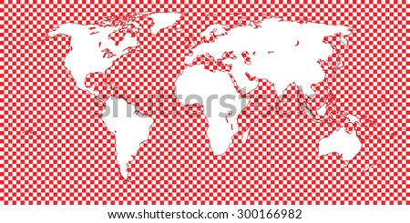 World Map Checkered Red 1 Big Squares - stock photo