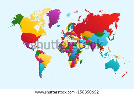 World map, colorful countries Atlas illustration.