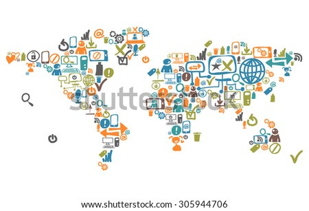 World map composed from social web icons and device - stock photo