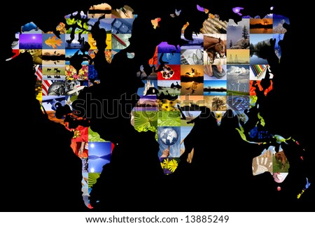 World map composed of photographer's color photographs. - stock photo