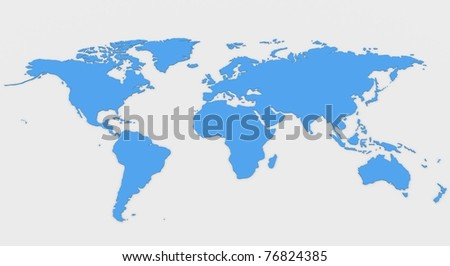 world map. Computer Simulation - stock photo