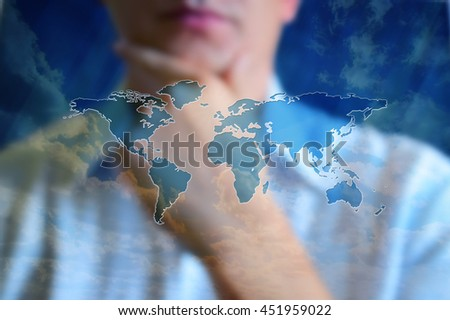 World map concept image. Person looking on the world map and thinking. Design world map at background with sky and cloud. Abstract world map with continents, without countries, cities, and symbols. - stock photo