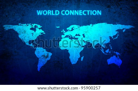 World Map Connection - stock photo
