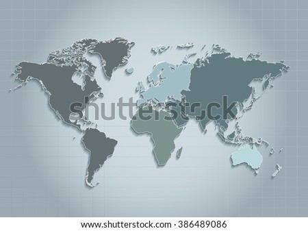world map. continents. blue. raster. Individual separate continents. Europe map. Asia map. Africa map. America map. Australia map. Oceania map. individual map. Map icon. Map raster. Continent map. - stock photo