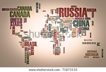World Map Words Stock Images RoyaltyFree Images Vectors - Word map with country name