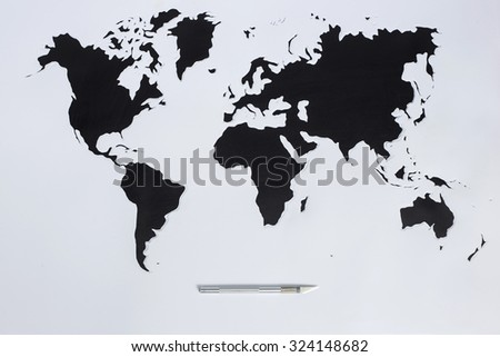World map. Cut out paper - stock photo