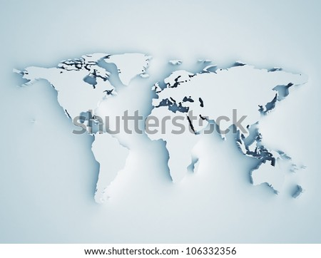 World map 3D - stock photo