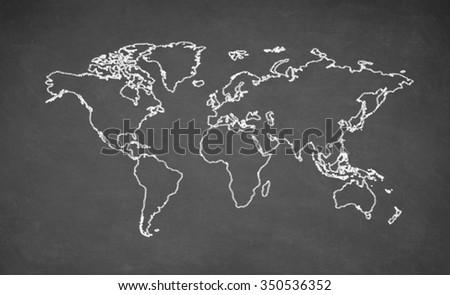 World map drawn on chalkboard. Chalk and blackboard. - stock photo