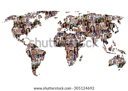 World map earth multicultural group of people integration diversity isolated - stock photo