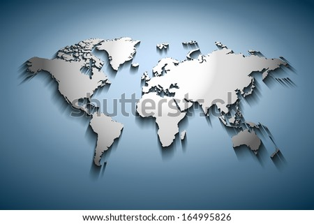 World map embossed over blue gradient - stock photo