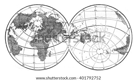 World map featuring evidence the unequal distribution of land and water on the surface of the globe, vintage engraved illustration. Magasin Pittoresque 1847. - stock photo