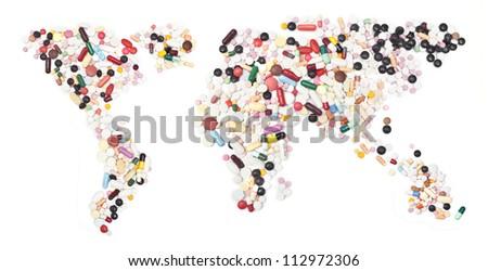 world map form pills on white. - stock photo