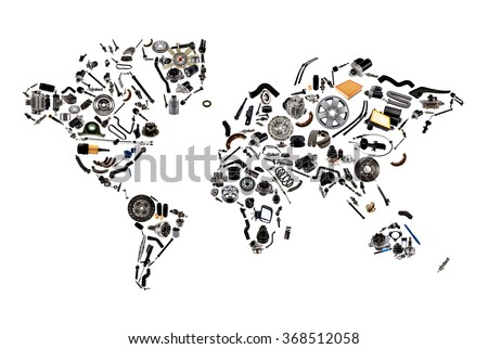 World map car spare parts isolated stock photo royalty free world map from lot of car spare parts isolated on white background gumiabroncs Choice Image