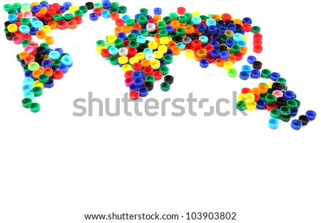 world map from plastic caps isolated on the white background