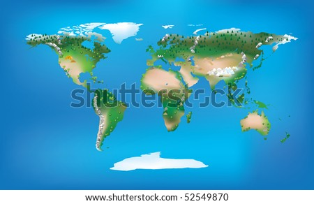 World map full colour and detailed land type and trees and mountains - stock photo