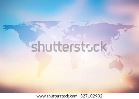 world map geography background:geographic global topography wallpaper for design decorate element ornament boarder:worldwide continent journey display concept:warm tone sunset colorful backdrop ideal. - stock photo