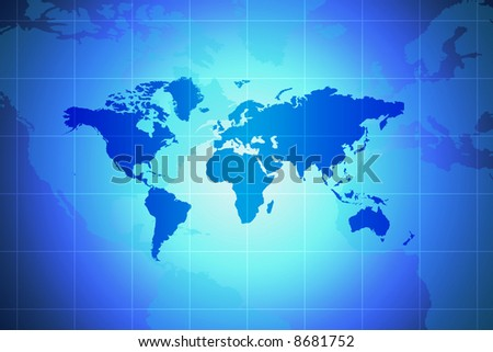 World Map - Global Concept In Blue With Spotlight And Grid