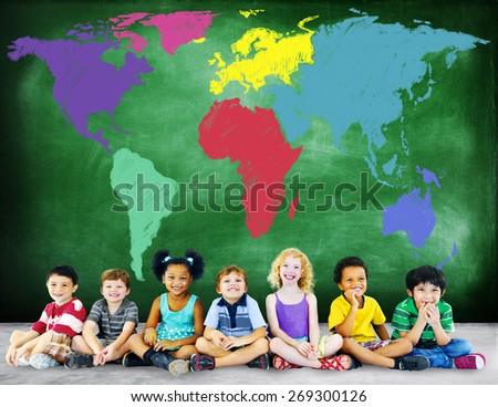 World Map Global International Globalisation Concept - stock photo